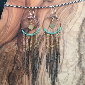 Alchemilla brass hoop and turquoise earrings